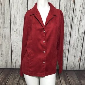 Hannah Suede Button Down red long sleeve T131
